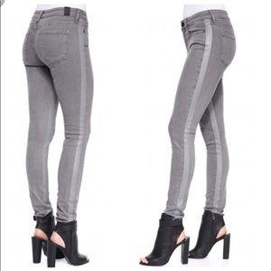 Vince Dylan Tuxedo Stripe Gray Skinny Jeans Size26